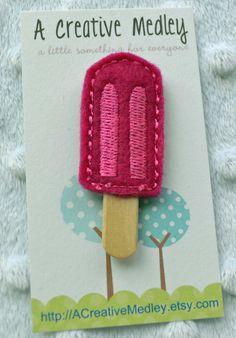 EMBROIDERY DESIGN Popsicle Hair felt feltie embroidery design. $1.99, via Etsy.