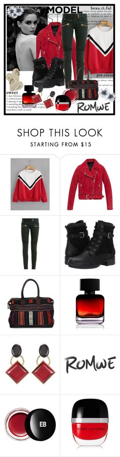 """""""Black,red, white and wonderful by RomWe"""" by jckallan ❤ liked on Polyvore featuring Andrew Marc, Balmain, Blondo, NOVICA, The Collection by Phuong Dang, Marni, Edward Bess and Marc Jacobs"""