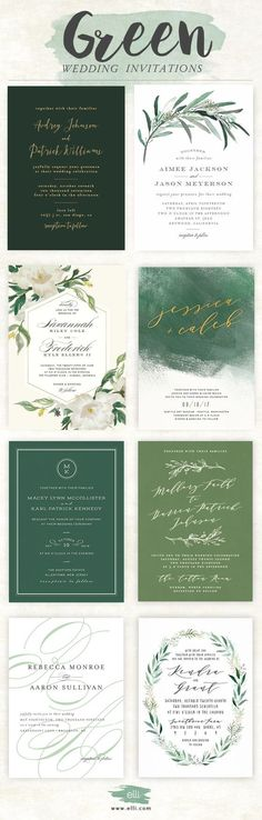 Gorgeous selection of green wedding invitations from Elli.com
