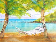 Tropical Beach Hammock Original Watercolor by CarlinArtWatercolor