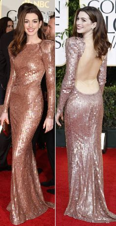 Anne Hathaway in Sequined Armani Prive Dress for Golden Globes 2011