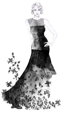 Fashion illustration - black & white fashion drawing // Esra Roise