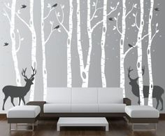 Birch Tree Wall Decal Forest, going in Sawyer's room with a Navy wall behind the trees and lighter gray deer.