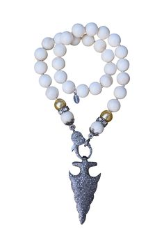 Bone, South Sea Pearl, and Diamond Arrowhead Necklace — S. Carter Designs