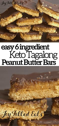 Tagalong Cookies simplified to just 6 ingredients & ready in an hour! These chocolate peanut butter cookie bars taste like your favorite Girl Scout treat! Keto Cookies, Tagalong Cookies, Keto Friendly Desserts, Low Carb Desserts, Low Carb Recipes, Healthy Desserts Peanut Butter, Healthy Food, Diet Desserts, Diabetic Desserts