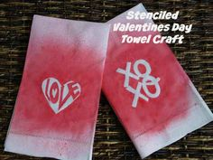 Stenciled Valentines Day Towel Craft