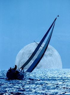 sailboat and the moon super zoom