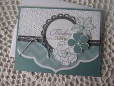 Handmade Greeting Card: Thinking Of You (in Blue, Gray and White) Handmade Greetings, Greeting Cards Handmade, Expressions Of Sympathy, Quilling Cards, Friendship Cards, Card Patterns, Winter Theme, Paper Cards, Flower Cards