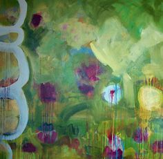 """Abstract Artists International: Contemporary Abstract Mixed Media Painting """"Spring Finally"""" by Santa Fe Artist Annie O'Brien Gonzales"""