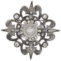 Flower Rhinestone Brooch Pin for Bridal and Wedding or Party Clothing Embellishments 1.7X1.7 inches >>> You can find out more details at the link of the image.