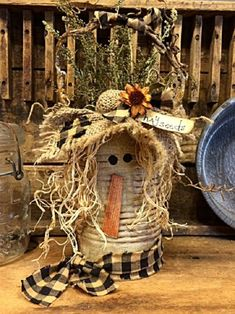 """Primitive Fall Scarecrow Tin Container """"Hayseed"""" Collection Adorably Fun Unique Handcrafted Autumn Home Decor Item Scarecrow Crafts, Fall Scarecrows, Scarecrow Ideas, Halloween Crafts, Wood Scarecrow, Halloween Costumes, Ghost Costumes, Halloween Wreaths, Fall Wreaths"""