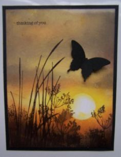SU inspired by nature Sunset silhouette by Dolly Watt - Cards and Paper Crafts at Splitcoaststampers Butterfly Cards, Flower Cards, Sunset Silhouette, Get Well Cards, Fall Cards, Watercolor Cards, Sympathy Cards, Creative Cards, Cute Cards