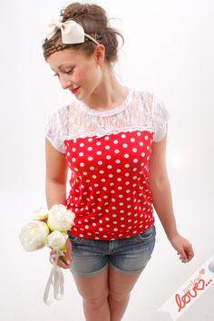 """T-Shirts mit Print - Shirt """"Shelly""""- Punkte Rot- Weiß, Spi... - ein Designerstück von mydearlove bei DaWanda"""