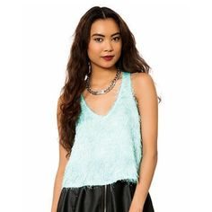 Fuzzy Tank Top Baby blue fuzzy tank top, loose fit crop top Lily White Tops Tank Tops