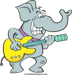 Clip Art - cartone animato, elefante, gioco, uno, chitarra k17386628 - Cerca Clipart, Poster illustrazioni, Disegni e Immagini grafiche vettoriali EPS - k17386628.eps