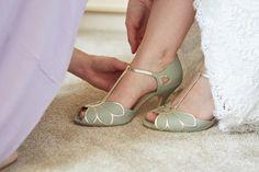 Green Rachel Simpson Shoes Bride Bridal Country Marquee Wedding https://www.fullerphotographyweddings.co.uk/