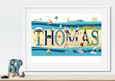 Children's Room Decor – Personalised Print Customisable Name Illustration – a unique product by NanettoDesign on DaWanda