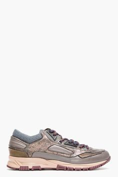 LANVIN Grey Leather Metallic-Trimmed Trainers