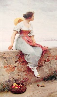 Eugene de Blaas (1843 - 1932) de origen italiano y raíces austríacas, pintó obras con temas venecianos, representando la vida de los pescadores, los gondoleros y las bellas mujeres de la ciudad. Retrató también a los nobles romanos y venecianos.