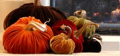 I love the look of these velvet plush pumpkins! They are so pretty & welcome the fall season perfectly, I think.
