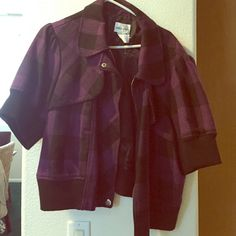 Purple and black jacket Purple and black checked jacket waist length. Jackets & Coats Blazers