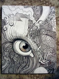 Practice a feature of the face or body and add zentangles to create an overall patterned composition with emphasis on a realistically draw body element. mmm by ~Thisisourtime on deviantART