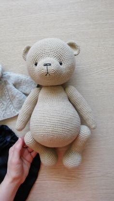 Size of the finished toy about 32 cm Level: medium. This pattern includes: - pdf file with detailed instructions in Englis Crochet Teddy Bear Pattern, Knitted Teddy Bear, Crochet Patterns Amigurumi, Amigurumi Doll, Crochet Dolls, Large Teddy Bear, Bear Toy, Stuffed Animal Patterns, Crochet Projects