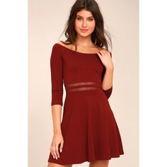 Yes to the Mesh Wine Red Skater Dress ($49) ❤ liked on Polyvore featuring dresses, red, red dress, skater skirt, skater dress, circle skirt and off-shoulder dresses