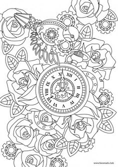 Steampunk printable adult coloring page