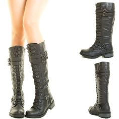 Lace-Up-Stack-Low-Flat-Heel-Mid-Calf-Knee-High-Military-Combat-Riding-Women-Boot
