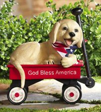Puppy Dog Statue Red Wagon 4th Of July Decoration Garden Decor Resin NEW I5452