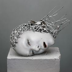 yuichi ikehata's digitally distored hybrid humans are sculpted with wire + paper