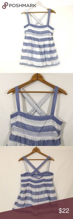 "J CREW empire striped lined nautical tank Excellent condition! Side style/content tag has been removed. Cotton, ramie. Lined. Adjustable straps. Side zip closure. Length- 26.5"" J. Crew Tops Tank Tops"