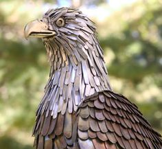 metal sculpture | Metal sculpture of a bald eagle made out of stainless steel, copper ...