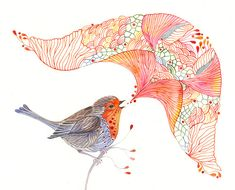 Singing Robin  little bird art watercolor illustration por TevaKiwi