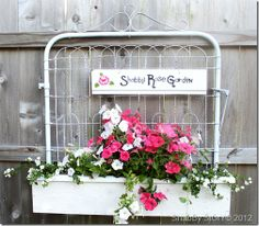 flower box made with gate - this is adorable! gate can function as trellis, hanger, or surface to hang sign or art - so cute and clever!  ************************************************ ShabbyStory - #gate #flower #planter
