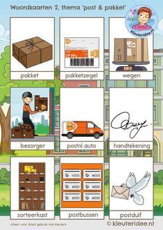 woordkaarten 2, thema post & pakket, kleuteridee, free printable