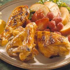 Grilled Chicken with Honey Glaze     Honey, orange peel, orange juice, mustard and garlic flavor this quick and easy grilled chicken marinade.