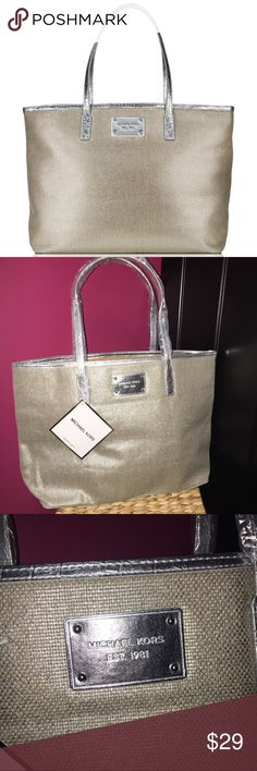 NWT Michael Kors Tweed Tote bag Purse Silver 100% authentic and New. This bag is trimmed in Silver and has Silver handles. It is like a tweed like material with the silver running all throughout (you can see it good in the 3rd pic) and the handles/trim is leather. No pockets on the outside or the inside. Medium Size Shoulder bag. 1st pic stock phone. The other 3 are the actual bag. This is big enough to carry a regular size laptop. Michael Kors Bags Shoulder Bags