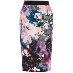 Coast Mull Printed Pencil Skirt, Multi (2.065 CZK) ❤ liked on Polyvore featuring skirts, coast skirts, knee length pencil skirt, floral pattern skirt, slim skirt and patterned skirts