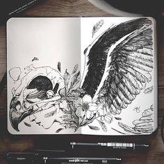 Surreal Hybrid Drawings on Sketchbook Pages