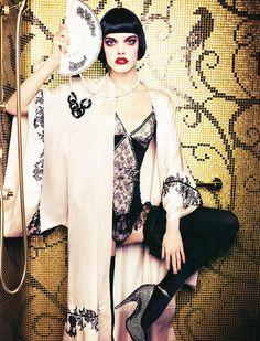 Chantal Thomass lingerie | Carine Gilson silk dressing gown | Wolford stockings | Lanvin heels | Photo Ellen von Unwerth for Madame Figaro December 2013