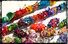 fabric and fiber bits and beads!