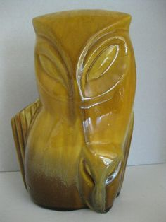 Mid-20th Century Pottery Planter / Mother Owl with Her Baby