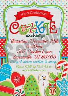 Christmas Cookie Exchange Party Invitation by AmandaCreation
