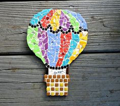 Hot Air Balloon Mosaic Art by BarbsCottage on Etsy