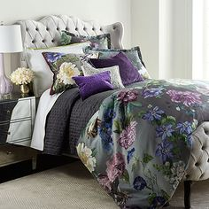 Shop Alexandria Amethyst Bedding & Astor Moss Sheets from Designers Guild at Horchow, where you'll find new lower shipping on hundreds of home furnishings and gifts. Designers Guild, Home Bedroom, Bedroom Decor, Bedroom Ideas, Bedroom Colors, Sexy Home, Tufted Bed, Floral Bedding, Gray Interior