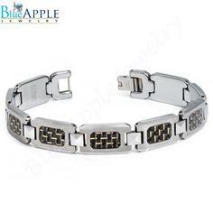 "New 8"" High Polished Tungsten Carbide H-Link Bracelet with Black & Golden Carbon Fiber Inlay Excellent Men's Fashion Gift Design for Him"