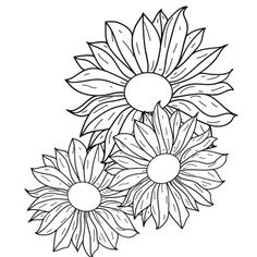 Line art or line drawing is any image that consists of distinct straight or Flower Line Drawings, Outline Drawings, Art Drawings, Drawing Flowers, Leather Tooling Patterns, Leather Pattern, Sunflower Design, Sunflower Pattern, Flower Outline