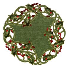 Holiday Holly Embroidered Cutwork Round Doily